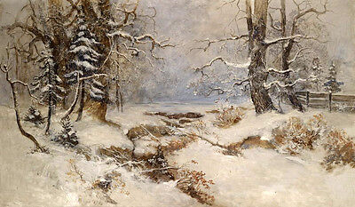 No framed Oil painting beautiful winter snow landscape with old trees in dusk