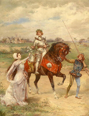 """No framed Oil painting young girl with horseman Clown in landscape canvas 36"""""""