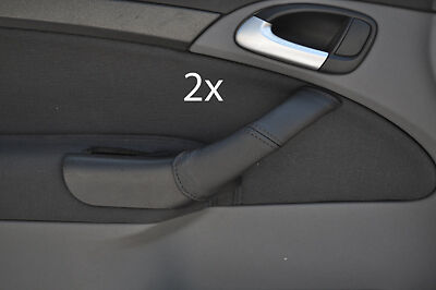 black stitch FITS SAAB  9-3 2004-2011 2X LEATHER DOOR HANDLE COVERS