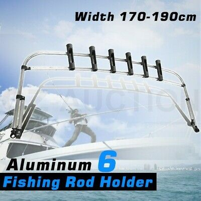 Aluminium Fishing Rod Holder Rocket Launcher Bimini Top Boat Organiser - 6 Rod