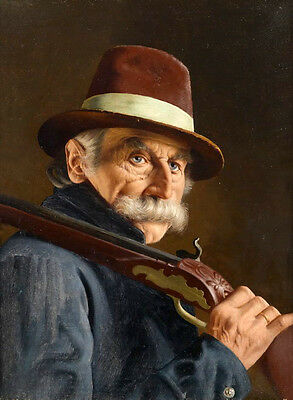 Large Oil painting old male portraits elder with hat Carrying a shotgun canvas