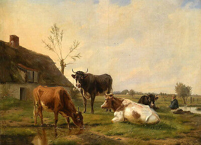 Dream-art Oil painting Rancher with his cows by the stream in view free shipping