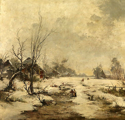 Beautiful oil painting winter snow landscape with old town villagers on canvas