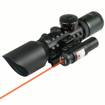 Tactical Reflex 3-10x 40 Red / Green Dot Reticle Sight Rifle Scope & Red Laser