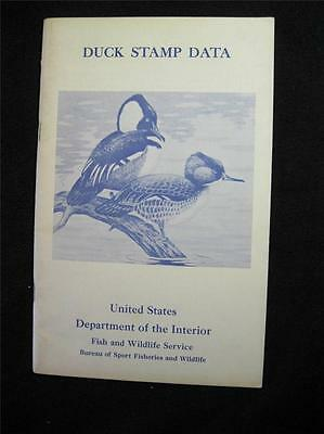 DUCK STAMP DATA INFORMATION FOR COLLECTORS by US DEPT OF INTERIOR 1968