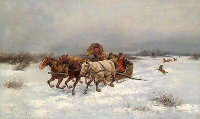 """Large Oil painting horses with Horse-drawn sleigh in winter & dogs no framed 36"""""""