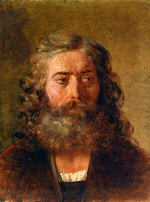 Huge Oil painting male portait with big Beard no framed canvas free shipping