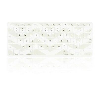 "Chevron Light Gray N White Silicone Keyboard Cover for Macbook Air 13"" A1466"