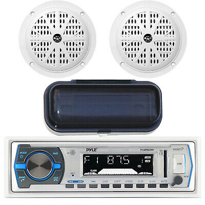 """Enrock Marine In-Dash AM/FM Radio MP3 USB SD AUX iPod Input, 4"""" Speakers, Cover"""