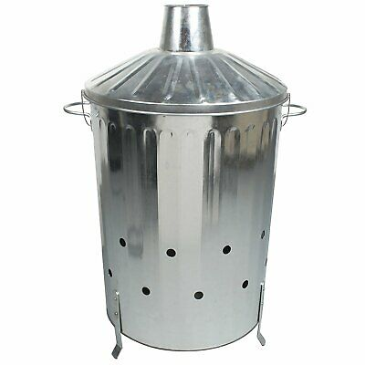 90 Litre Garden INCINERATOR Fire Bin Burner for Rubbish Leaves Paper + HAND GEL