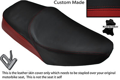 Black & Dark Red Custom Fits Yamaha Sr 125 Dual Leather Seat Cover