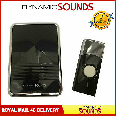Dynamic Digital Wireless Door Bell 80M Black Cordless Chime 36 Melodies Cordless