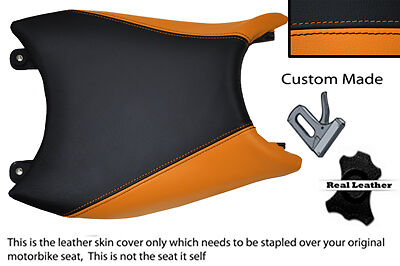 Orange & Black Custom Fits Ktm Duke 125 2011 2012 + Leather Seat Cover