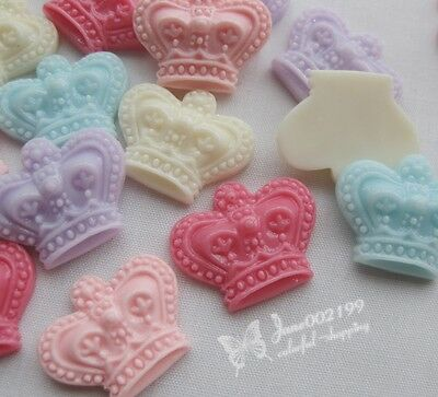 40x Mix Resin Crown Flatback Buttons No Hole Scrapbooking DIY Appliques JOB059