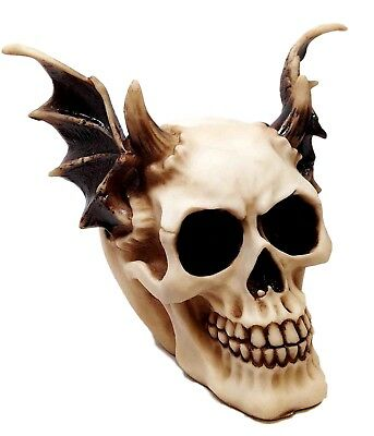 Evil Dark Devil Skull With Wings Statue Time Waits For No Man Skeleton Figurine