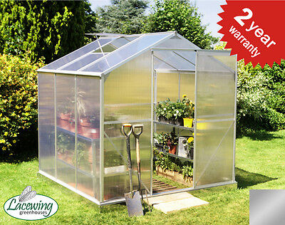 Silver Aluminium Greenhouse Free Base Grow Polycarbonate Sliding Door UV Safe