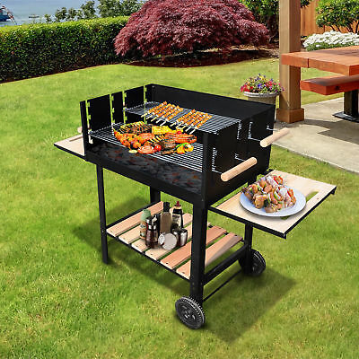 Trolley Charcoal BBQ Barbecue Grill Patio Outdoor Garden Heating Heat Smoker