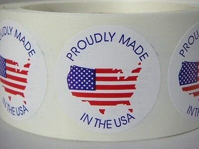 """PROUDLY MADE IN THE USA MADE IN AMERICA FLAG 1 3/4""""  Circle Sticker Label 500/rl"""