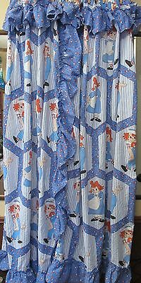 Rare Vintage 1978 Raggedy Ann and Andy Curtain Panels Bobbs Merrill Craft Fabric