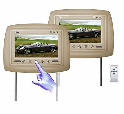 "New Tview Universal 7"" Beige/tan Headrest Car Monitors"