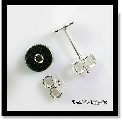 20 x SILVER 6mm Flat Glue Pad Studs Earring Posts & Backs DIY Jewellery