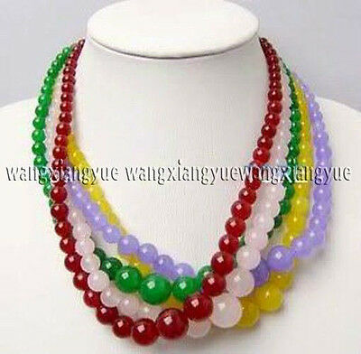 """Wholesale 5Strands 5Color 6-14mm Round Jade Beads Necklaces 18""""AAA Grade"""
