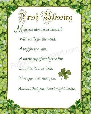 An Old Irish Blessing 4 Leaf Clover May  You Always Be Blessed Wall Art Print