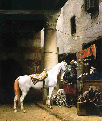 Stunning Oil painting Jean-Leon Gerom - Arab Purchasing a Bridle & horse canvas