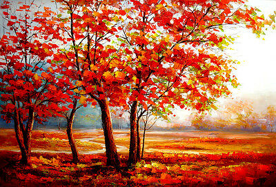 Nice Oil painting impressionism autumn landscape with red trees leaves canvas