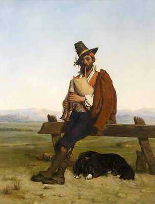 Oil painting male portrait cowboy playing trumpet in sunset landscape with dog