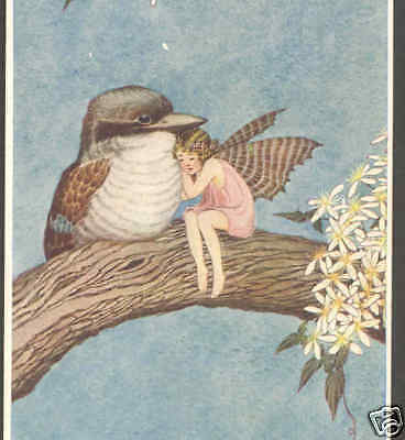 Outhwaite..sleepy Fairy Cuddles With Kookabarra Bird,vintage Postcard