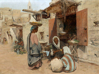 Excellent Oil painting Arabs portraits in the street landscape no framed canvas