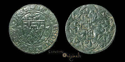 Extremely Rare 15Th Century France Arms And Cross Jeton Coin 022242