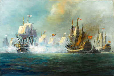 """Huge Oil painting Seascape The Battle of Trafalgar with Warships canvas 24""""x36"""""""