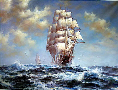 Dream-art Oil painting James Gale Tyler Big sail boats with ocean waves seascape