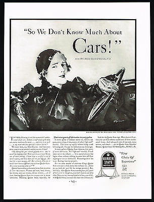 1934 Quaker State Motor Oil Women Don't Know Much About Cars Print Ad