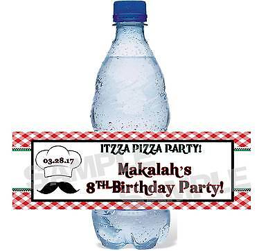 Personalized CHEF ITZZA PIZZA PARTY BIRTHDAY PARTY water bottle label wrapper