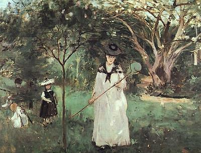 Art Oil painting The Butterfly Chase young lady with children in spring view
