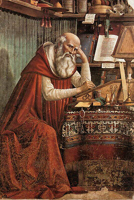 Excellent Oil painting male portrait elder St Jerome in his Study on canvas