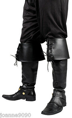 *Mens Black Deluxe Medieval Pirate Hook Santa Costume Boot Top Covers Accessory*