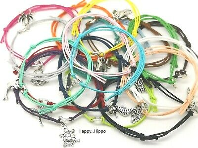 Variety Of Tibetan Silver Animal & Insect Charm Cord Friendship Wish Bracelet