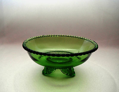 "ANTIQUE PRESSED EAPG US GLASS COLORADO 5"" FOOTED BERRY BOWL - GREEN - c1899"