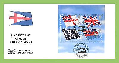 G.B. 2001 Flags & Ensigns M/S on official First Day Cover, Flag Institute, York