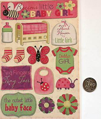 SCRAPBOOKING NO 087 - 14 Piece BABY GIRL CARD STOCK STICKERS