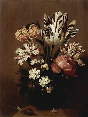 Oil painting Hans Gillisz Bollongier nice still life flowers with Snail