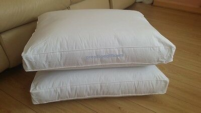 Pair Of Box Pillows New Luxury Bed 5 Star Hotel Kings 2 Pillow Medium Rrp £60