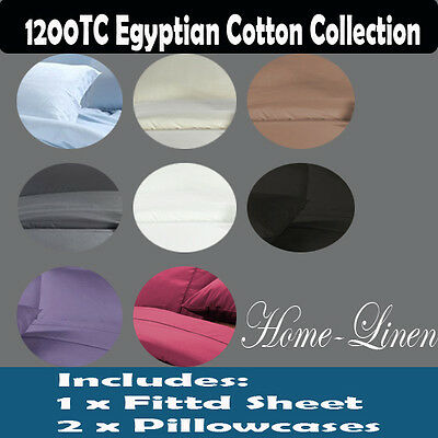 1200TC Egyptian Cotton Fitted Sheet+Pillowcase Set(No Flat Sheet) Aus Size Bed