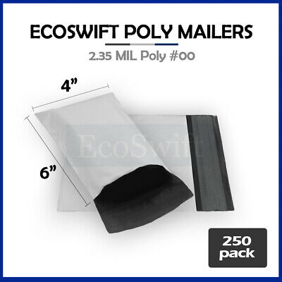 250 4x6 WHITE POLY MAILERS SHIPPING ENVELOPES SELF SEALING BAGS 2.35 MIL 4 x 6