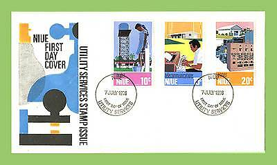 Niue 1976 Utility Services set on First Day Cover. unaddressed