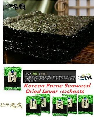 Korean Parae Seaweed Dried Laver 100sheets Sushi Gimbab Clean sea Wando Island